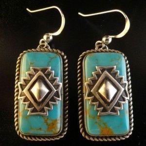 Jewelry - Vintage 925 Silver Turquoise Stud Earrings